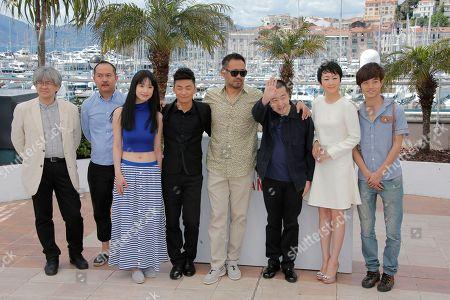 Shozo Ichiyama, Yu Lik Wai, Meng Li, Baoqiang Wang, Jiang Wu, director Jia Zhangke, Tao Zhao, Lanshan Luo From left, Producer Shozo Ichiyama, director of photography Yu Lik Wai, actors Meng Li, Baoqiang Wang, Jiang Wu, director Jia Zhangke, Tao Zhao and Lanshan Luo pose for photographers during a photo call for the film A Touch of Sin at the 66th international film festival, in Cannes, southern France