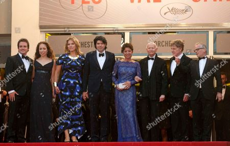 From left, producers Neal Dodson, Anna Gerb, Mary Cameron Goodyear, director J. C. Chandor, wife of Robert Redford Sibylle Szaggars, festival president Gilles Jacob, actor Robert Redford and festival general delegate Thierry Fremaux stand at the top of the red carpet prior to the screening of All Is Lost at the 66th international film festival, in Cannes, southern France
