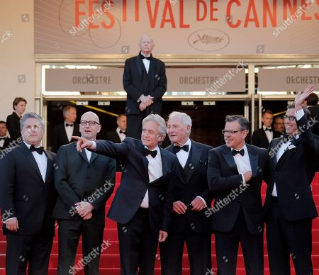 Michael Douglas, Scott Thorson, Steven Soderbergh, producer Jerry Weintraub, Matt Damon, Richard Lagravanese From left, screenwriter Greg Jacobs, director Steven Soderbergh, actor Michael Douglas, producer Jerry Weintraub, actor Matt Damon Richard Lagravanese arrive for the screening of Behind the Candelabra at the 66th international film festival, in Cannes, southern France
