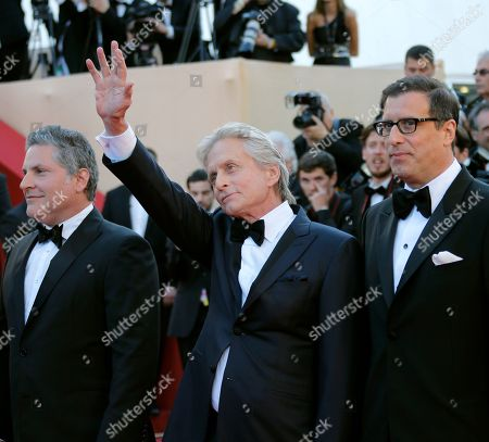 Michael Douglas From left, writer Greg Jacobs, actor Michael Douglas, and screenwriter Richard Lagravanese arrive for the screening of Behind the Candelabra at the 66th international film festival, in Cannes, southern France