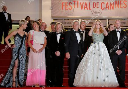 Sara Hjort Ditlevsen, Annet Malherbe, Jan Bijvoet, Alex Van Warmerdam, Hadewych Minis, Jeroen Perceval Front row, from left, actors Sara Hjort Ditlevsen, Annet Malherbe, Jan Bijvoet, director Alex Van Warmerdam, actors Hadewych Minis and Jeroen Perceval pose for photographers as they arrive for the screening of Borgman at the 66th international film festival, in Cannes, southern France