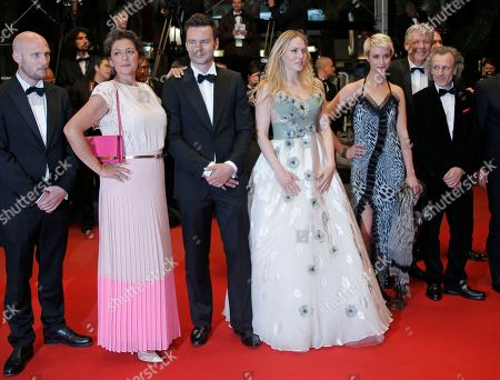 Jeroen Perceval, Annet Malherbe, Tom Dewispelaere, Hadewych Minis, Sara Hjort Ditlevsen, Jan Bijvoet From left, actors Jeroen Perceval, Annet Malherbe, Tom Dewispelaere, Hadewych Minis, Sara Hjort Ditlevsen and Jan Bijvoet arrive for the screening of the film Borgman at the 66th international film festival, in Cannes, southern France
