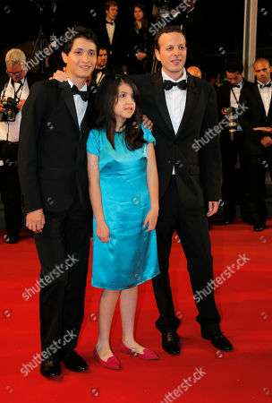 Armando Espitia, Andrea Vergara, Amat Escalante From left, actor Armando Espitia, Andrea Vergara and director Amat Escalante arrive for the screening of the film Heli at the 66th international film festival, in Cannes, southern France