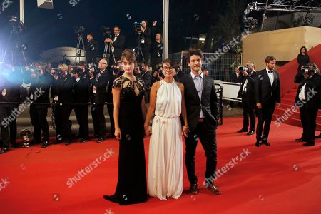 Sophie Desmarais, Chloe Robichaud, Jean-Sebastien Courchesne From left, actress Sophie Desmarais, director Chloe Robichaud and actor Jean-Sebastien Courchesne arrive for the screening of the film La Vie D'Adele at the 66th international film festival, in Cannes, southern France