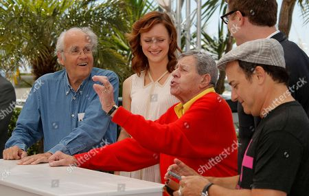 Michel Legrand, Kerry Bishe, Jerry Lewis, Daniel Noah, Kevin Pollak From left, musician Michel Legrand, actress Kerry Bishe, comedian Jerry Lewis, director Daniel Noah and actor Kevin Pollak pose for photographers during a photo call for the film Max Rose at the 66th international film festival, in Cannes, southern France