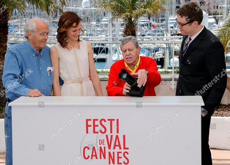 Michel Legrand, Kerry Bishe, Jerry Lewis, Daniel Noah From left, musician Michel Legrand, actress Kerry Bishe, comedian Jerry Lewis, and director Daniel Noah pose during a photo call for the film Max Rose at the 66th international film festival, in Cannes, southern France