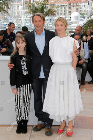 Delphine Chuillot, Mads Mikkelsen, Melusine Mayance From left, actors Mads Mikkelsen, Melusine Mayance and Delphine Chuillot pose for photographers during a photo call for the film Michael Kohlhaas at the 66th international film festival, in Cannes, southern France