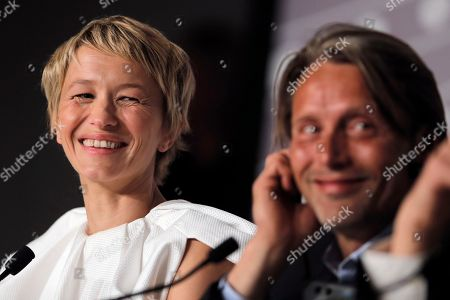Mads Mikkelsen, Delphine Chuillot Actress Delphine Chuillot, left, and actor Mads Mikkelsen react as they participate in a press conference for Michael Kohlhaas at the 66th international film festival, in Cannes, southern France