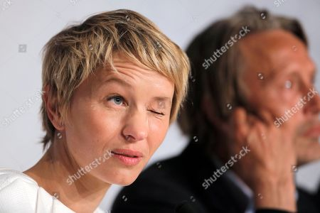 Delphine Chuillot Actress Delphine Chuillot, foreground, reacts as she listens to questions during a press conference for Michael Kohlhaas at the 66th international film festival, in Cannes, southern France