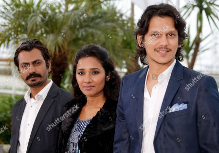 Nawazuddin Siddiqui, Tannishtha Chatterjee, Vijay Verma From left, actors Nawazuddin Siddiqui, Tannishtha Chatterjee and Vijay Verma pose for photographers during a photo call for the film Monsoon Shootout at the 66th international film festival, in Cannes, southern France