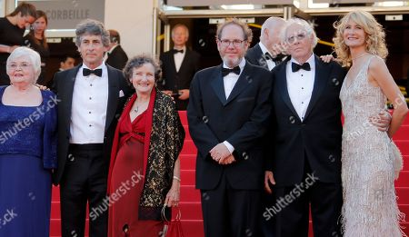 June Squibb, Alexander Payne, Angela McEwan, XXX, Bruce Dern, Laura Dern From left, actress June Squibb, director Alexander Payne, actor Angela McEwan, producer Albert Berger, actors Bruce Dern and Laura Dern stand at the top of the stairs for the screening of Nebraska at the 66th international film festival, in Cannes, southern France