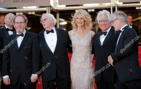 June Squibb, Alexander Payne, Angela McEwan, Ron Yerxa, Bruce Dern, Laura Dern, Ron Yerxa, Albert Berger From left, producer Albert Berger, actors Bruce Dern and Laura Dern, producer Ron Yerxa and Cannes Festival Director Thierry Fremaux stand at the top of the stairs for the screening of Nebraska at the 66th international film festival, in Cannes, southern France