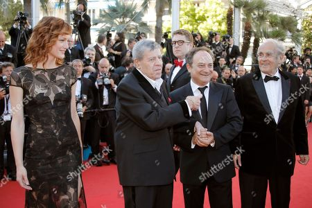 Kerry Bishe, Jerry Lewis, Daniel Noah, Kevin Pollak, Michel Legrand From left, actress Kerry Bishe, comedian Jerry Lewis, director Daniel Noah, rear centre, actor Kevin Pollak and musician Michel Legrand arrive for the screening of Nebraska at the 66th international film festival, in Cannes, southern France