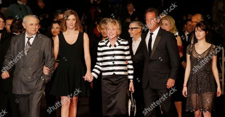 From left, actors Michel Subor, Chiara Mastroianni, director Claire Denis, actors Vincent Lindon and Helene Fillieres arrive for the screening of The Great Beauty at the 66th international film festival, in Cannes, southern France