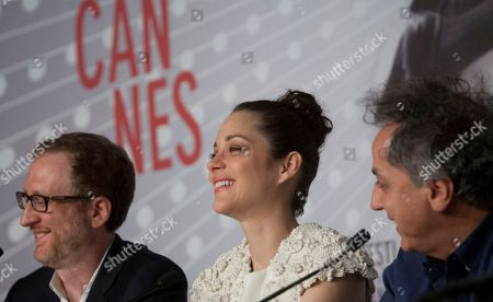 From left, director James Gray, actress Marion Cotillard and director of photography Darius Khondji attend a press conference for The Immigrant at the 66th international film festival, in Cannes, southern France