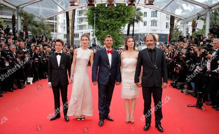 Frederic Pierrot, Geraldine Pailhas, Francois Ozon, Marine Vacth, Fantin Ravat Cast from right, Frederic Pierrot, Geraldine Pailhas, director Francois Ozon, Marine Vacth and Fantin Ravat arrive for the screening of Young & Beautiful at the 66th international film festival, in Cannes, southern France
