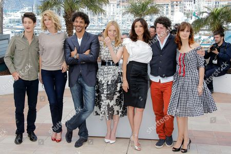 From left, actors Pierre Niney, Alice Taglioni, Tomer Sisley, Lea Drucker, Aure Atika, Clement Sibony and Elodie Navarre pose during a photo call for Young Talent at the 66th international film festival, in Cannes, southern France