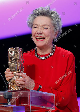 """French actress Emmanuelle Riva reacts after being awarded the Cesar of Best Actress award for Austrian filmmaker Micheal Haneke film """"Amour"""" (love) during the 38th Cesar Film Awards at Theatre du Chatelet in Paris, France"""