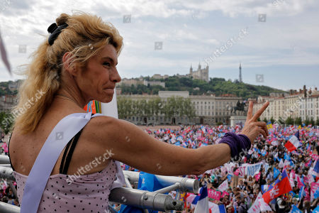 Frigide Barjot, leader of the movement against gay marriage, gestures during a rally to protest against French President Francois Hollande's social reform on gay marriage and adoption, in Lyon, central France