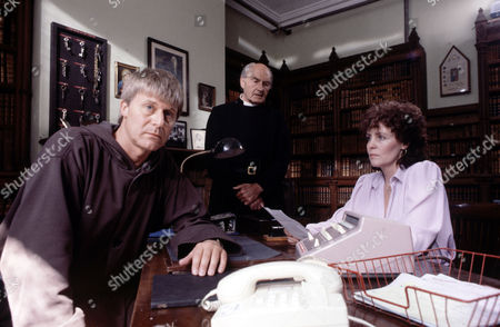 Martin Jarvis, Maurice Denham and Pauline Collins in 'The Black Tower'