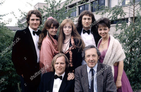 Back row, Robert Bathurst ,Sharon Holm ,Alison Sterling ,Martin Wenner , Tessa Peake-Jones .Front row ,Matthew Marsh and The Author Malcolm Bradbury in a line up before shooting  'Anything More Would Be Greedy'
