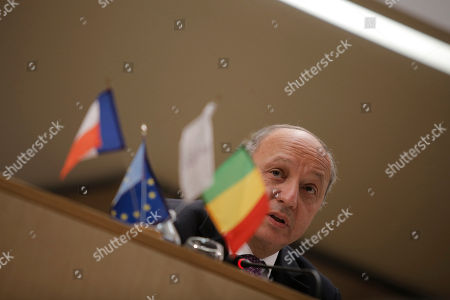 French Foreign Minister Laurent Fabius delivers a speech during a meeting with Mali's Foreign Minister Tieman Coulibaly, in Lyon, central France