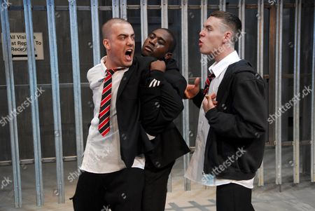 Daniel Ings (Flips), Obi Iwumene (Victor) and Luke Norris(Ricky) National Youth Theatre production of White Boy which examines issues of race, identity, and recent teenage stabbings.