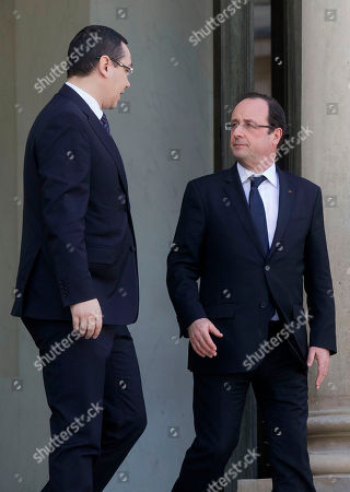 Victor-Viorel Ponta, Francois Hollande Romania's Prime Minister Victor-Viorel Ponta, left, is accompanied by France's President Francois Hollande, right, after their meeting at the Elysee Palace, Paris