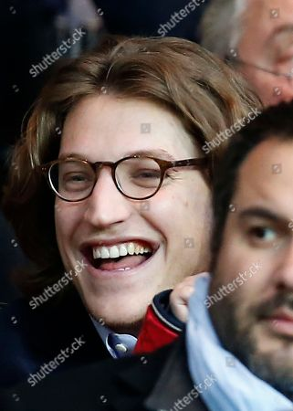 Former French President son's Jean Sarkozy reacts at their French League One soccer match Paris Saint Germain- OGC Nice, in Parc des Princes stadium, in Paris, France