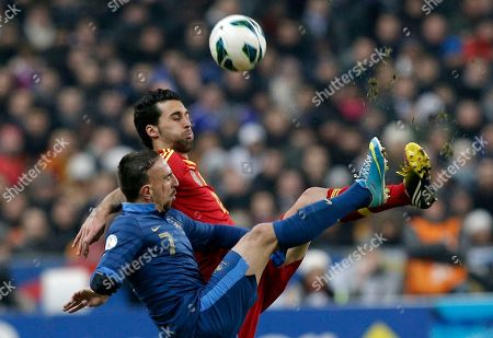 Franck Ribery, Alvaro Arbeloa Coca France's Franck Ribery, challenges Spain's Alvaro Arbeloa Coca, back, during their World Cup 2014 qualifying soccer match at the Stade de France in Saint Denis, north of Paris, . Spain won 1-0