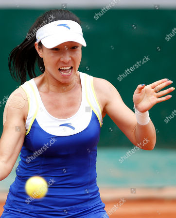 China's Zheng Jie returns the ball to Melanie Oudin, of the U.S, during their second round match of the French Open tennis tournament at the Roland Garros stadium in Paris