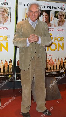 "Actor Terence Stamp poses for a photo on the red carpet for the movie ""Song for Marion"" in Paris, France"
