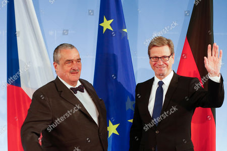 Guido Westerwelle, Karel Schwarzenberg German Foreign Minister Guido Westerwelle, right, waves as he welcomes his Czech counterpart Karel Schwarzenberg at the Foreign Ministry in Berlin, Germany