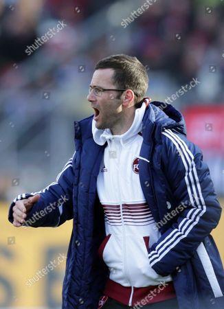 Michael Wiesinger Nuremberg head coach Michael Wiesinger gestures during the German first division Bundesliga soccer match between 1. FC Nuremberg and FC Schalke 04, in Nuremberg, southern Germany