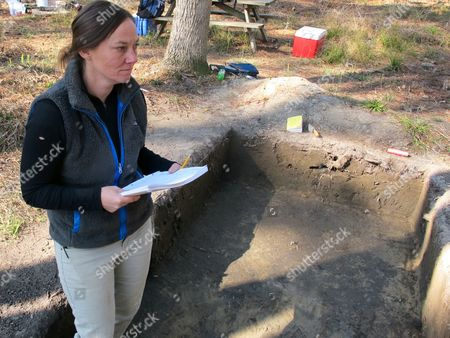 Stacey Young, the archaeologist at the Hampton Plantation State Historic Site near McClellanville, S.C., surveys a dig at the plantation on . The dig at the plantation once home to 340 slaves started three years ago, with the initial money coming from federal stimulus funds. It's continued since with the help of volunteers