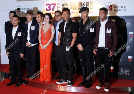 """Stock Picture of Lam Suet, Guo Tao, Berg Ng, Eddie Cheung, Michelle Yip, Gordon Lam, Louis Koo, Wallace Chung, Philip Keung From left, Hong Kong actor Lam Suet, Chinese actor Guo Tao, Hong Kong actors Berg Ng, Eddie Cheung, actress Michelle Yip, actors Gordon Lam, Louis Koo, Wallace Chung and Philip Keung attend a premiere of their movie """"Drug War"""" as part of the 37th Hong Kong International Film Festival in Hong Kong"""