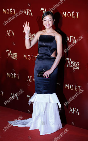 Stock Image of Cho Min-soo South Korea actress Cho Min-soo poses on the red carpet at the Asian Film Awards as part of the 37th Hong Kong International Film Festival in Hong Kong