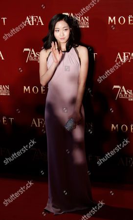 Stock Picture of Kim Ko-eun South Korean actress Kim Ko-eun poses on the red carpet at the Asian Film Awards as part of the 37th Hong Kong International Film Festival in Hong Kong