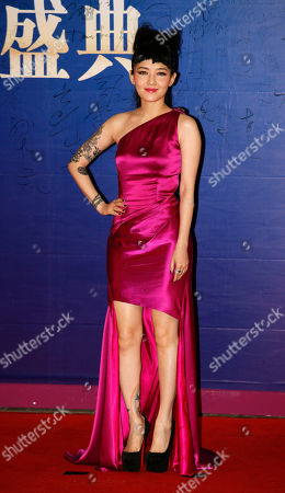 Stock Picture of Mavis Fan Taiwanese singer Mavis Fan poses on the red carpet at the Huading Awards in Hong Kong