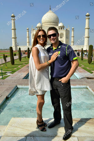 Michael Clarke, Kyly Clarke Australian cricket team captain Michael Clarke, right, and his wife Kyly Clarke pose for a photograph in front of the Taj Mahal in Agra, India, . The Taj Mahal, a UNESCO Heritage site, was built in 1631 by the Mughal emperor Shah Jahan in memory of his wife Mumtaz Mahal and attracts tens of thousands of tourists every year