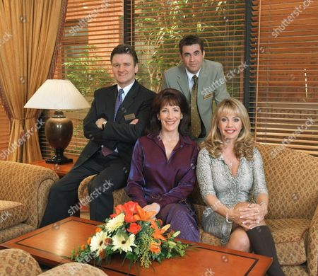 'Crossroads'  - (L-R) Patrick Russell (Neil McCaul), Kate Russell (Jane Gurnett), Jake Booth (Colin Wells) and Tracey Booth (Cindy Marshall-Day)