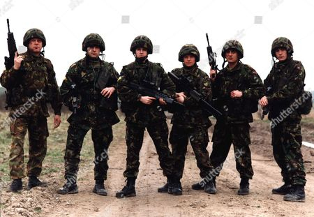 'Soldier Soldier'  - (L to R) Thomas Craig, Jonathan Guy Lewis, Ben Nealon, Danny Cunningham, Chris Gascoyne and Ian Curtis