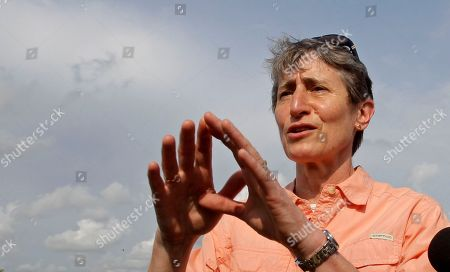 Sally Jewell Secretary of the Interior Sally Jewell gestures as she talks to reporters after touring the Loxahatchee National Wildlife Refuge in Palm Beach County, Fla., . Jewell took over the department from Ken Salazar earlier this month. Her stop Wednesday in South Florida is one of her first official trips and highlights the importance of Everglades restoration to the agency responsible for national parks and other public lands