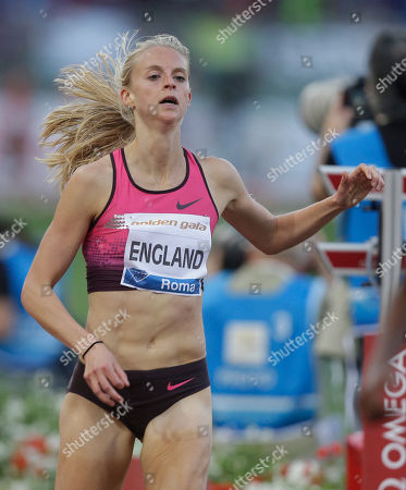 Britain's Hannah England competes in the women's 1500m event at the Golden Gala IAAF athletic meeting, at Rome's Olympic stadium