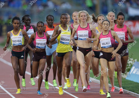 Britain's Hannah England, second from right, competes in the women's 1500m event at the Golden Gala IAAF athletic meeting, at Rome's Olympic stadium