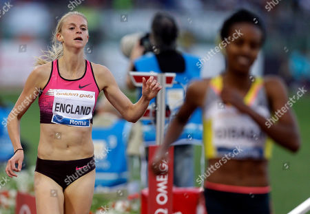 Britain's Hannah England, left, competes in the women's 1500m event at the Golden Gala IAAF athletic meeting, at Rome's Olympic stadium