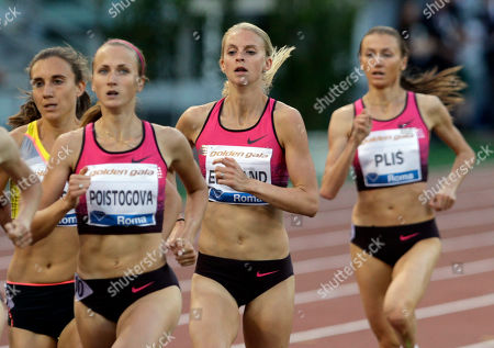 Britain's Hannah England, center, competes in the women's 1500m event at the Golden Gala IAAF athletic meeting, at Rome's Olympic stadium