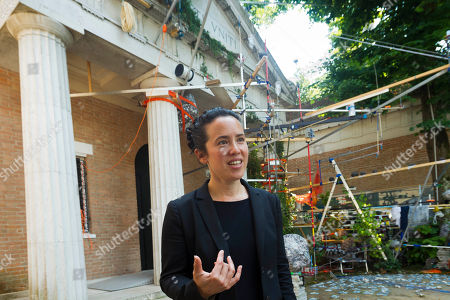Sarah Sze Artist Sarah Sze is interviewed outside the United States Pavilion during a preview of the 55th edition of the Venice Biennale of Arts in Venice, northern Italy