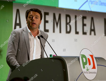 Mayor of Florence Matteo Renzi delivers his speech at the Democratic Party national assembly, in Rome, . A new party secretary general is expected to be elected Saturday to replace Pier Luigi Bersani, who resigned in April after failing to form a government in the aftermath of February's nationwide elections, and, after his party imploded during the process to elect a head of state
