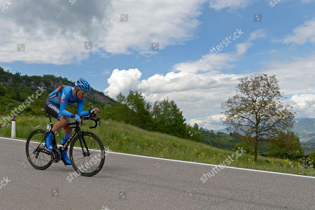 Tom Danielson, of the US, pedals in the individual mountain time trial during the 18th stage of the Giro d'Italia, Tour of Italy cycling race, from Mori to Polsa